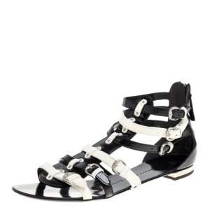 Giuseppe Zanotti Black/White Patent Leather Buckle Detail Gladiator Flat Sandals Size 40