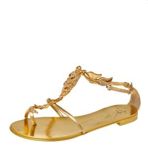 Giuseppe Zanotti Metallic Gold Leather Scorpion Crystal Embellished Flat Sandals Size 36.5