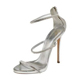 Giuseppe Zanotti Metallic Silver Leather Crystal Embellished Harmony Ankle Strap Sandals Size 41
