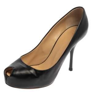 Giuseppe Zanotti Black Leather Monro Peep Toe Platform Pumps Size 37.5