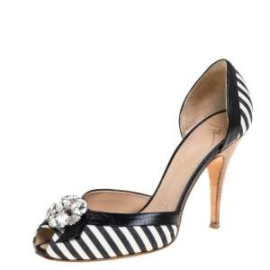 Giuseppe Zanotti Black/White Stripe Canvas And Leather Crystal Embellished D' Orsay Pumps Size 39