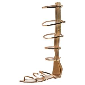 Giuseppe Zanotti Rose Gold Patent Leather Rylee Gladiator Flat Sandals Size 38.5