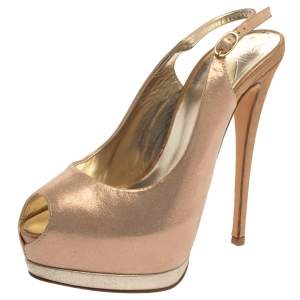 Giuseppe Zanotti Rose Gold Iridescent Leather Peep toe Sling Back Pumps Size 36.5