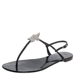 Giuseppe Zanotti Black Leather T Strap Crystal Embellished Flat Sandals Size 41