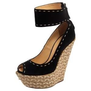 Giuseppe Zanotti Black Suede Espadrille Wedge Ankle Strap Peep Toe Pumps Size 37