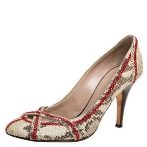 Giuseppe Zanotti Beige Python Effect Nubuck Leather  Stitch Detail Pumps Size 38