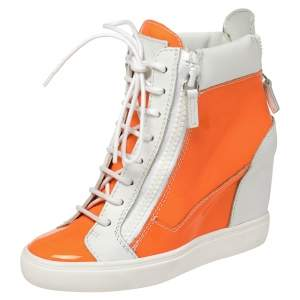 Giuseppe Zanotti  White/Neon Orange  Patent And Leather High Top Wedge Sneakers Size 37.5