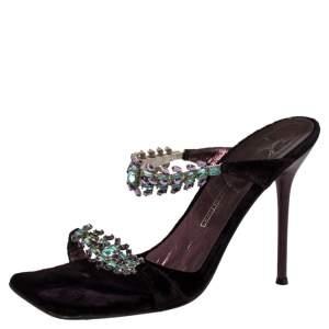 Giuseppe Zanotti Purple Velvet Crystal Embellished Slide Sandals Size 39