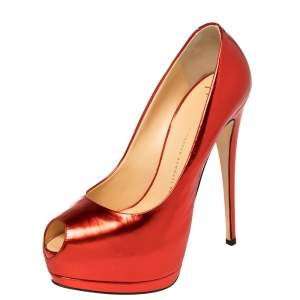 Giuseppe Zanotti Red Mirror Leather Sharon Peep Toe Platform Pumps Size 39