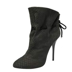 Giuseppe Zanotti Grey Embossed Python Nubuck Leather Ankle Booties Size 41
