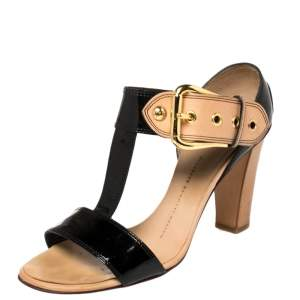 Giuseppe Zanotti Black/ Beige Patent Leather T Strap Ankle Strap Sandals Size 38