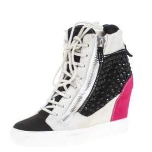 Giuseppe Zanotti Multicolor Crystal Embellished Suede Wedge Sneakers Size 37