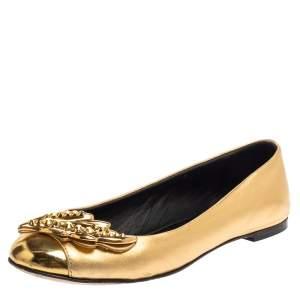 Giuseppe Zanotti Metallic Gold Leather Cap Toe Embellished Flats Size 37.5