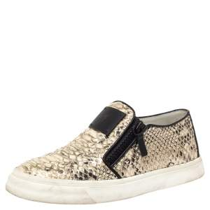 Giuseppe Zanotti Multicolor Python Embossed Leather Devon Slip On Sneakers Size 40