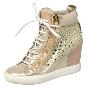 Giuseppe Zanotti Gold/Beige Leather And Suede Crystal Embellished Wedge Sneakers Size 37.5