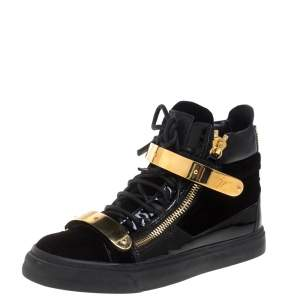 Giuseppe Zanotti Black/Gold Velvet And Leather Coby High Top Sneakers Size 38