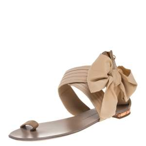 Giuseppe Zanotti Beige Fabric And Suede Flat Sandals Size 39