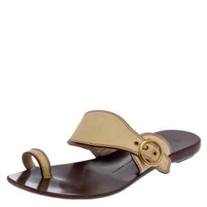 Giuseppe Zanotti Cream Leather Toe Ring Flats Size 37