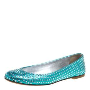 Giuseppe Zanotti Blue Leather Crystal Embellished Ballet Flat Size 37.5