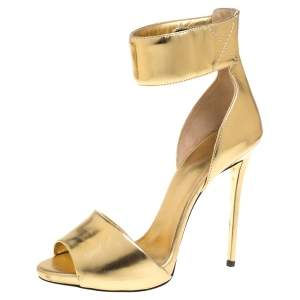 Giuseppe Zanotti Gold Leather Open Toe Ankle Cuff Sandals Size 37