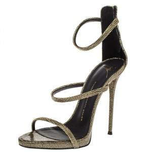 Giuseppe Zanotti Black/Gold Glitter Fabric Harmony Strap Sandals Size 40