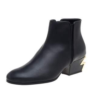 Giuseppe Zanotti Black Leathe  G- Heels Ankle Boots Size 37
