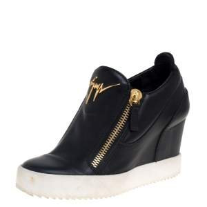 Giuseppe Zanotti Black Leather Wedge Sneakers Size 36