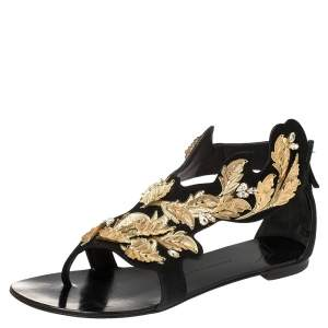 Giuseppe Zanotti Black/Gold Suede Metal Leaf Embellished Flat Sandals Size 39