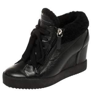 Giuseppe Zanotti Black Leather and Shearling Trim Lorenz Wedge Sneakers Size 36