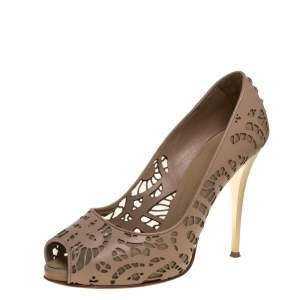 Giuseppe Zanotti Beige Leather And Mesh Peep Toe Pumps Size 40