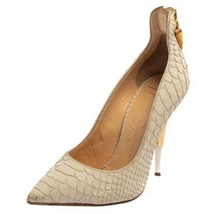 Giuseppe Zanotti White Python Embossed Leather Pumps Size 36