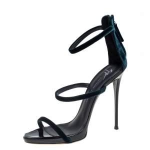 Giuseppe Zanotti Green Velvet Harmony Sandals Size 39.5