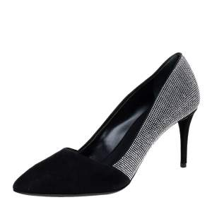 Giuseppe Zanotti Black Embellished Suede Olinda Almond Toe Pumps Size 36