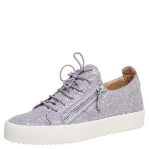 Giuseppe Zanotti Grey Glitter Low Top Sneakers Size 41