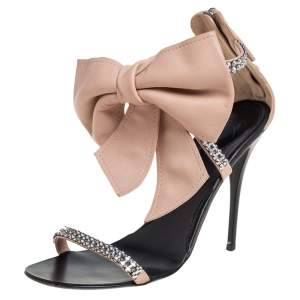 Giuseppe Zanotti Beige Leather Crystal Embellished Bow Detail Sandals Size 37.5