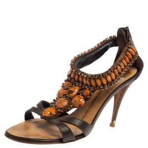 Giuseppe Zanotti Brown Leather Embellished Sandals Size 38.5