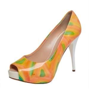 حذاء كعب عالي جوسيبي زانوتي جلد لامع متعدد الألوان نعل سميك مقاس 36