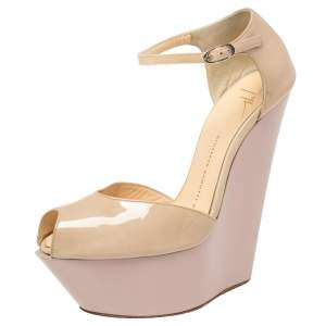Giuseppe Zanoti Beige Patent Leather Peep Toe Platform Wedge Ankle Strap Sandals Size 37