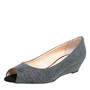 Giuseppe Zanotti Metallic Grey Glitter Fabric Wedge Peep Toe Pumps Size 39.5