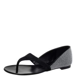 Giuseppe Zanotti Black Suede Crystal Embellished Flat Thong Sandals Size 37