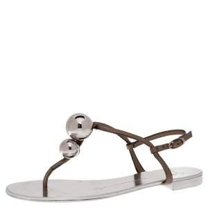 Giuseppe Zanotti Grey Leather Embellished Flat Ankle Strap Sandals Size 36