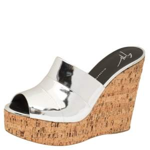 Giuseppe Zanotti Metallic Silver Leather Roz Cork Wedge Platform Slide Sandals Size 40