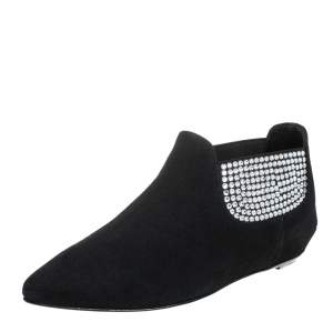 Giuseppe Zanotti Black Suede Embellished Flat Booties Size 36
