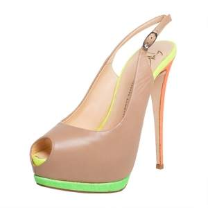 Giuseppe Zanotti Beige Leather Peep Toe Sandals Size 39