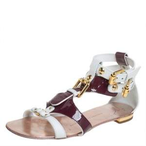 Giuseppe Zanotti White/Burgundy Patent Leather And Leather Flat Strappy Sandals Size 36