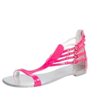 Giuseppe Zanotti Pink Patent Leather  T-strap Flat Sandals Size 36