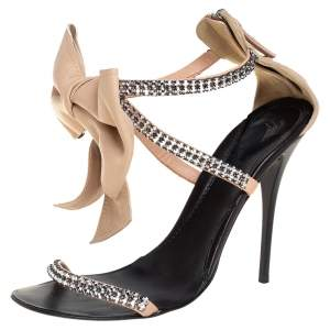 Giuseppe Zanotti Nude Leather Crystal Embellished Strappy Bow Detail Ankle Strap Sandals Size 39