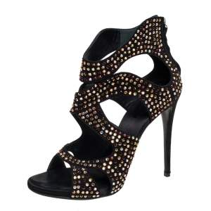 Giuseppe Zanotti Black Suede Crystal Embellished Ankle Sandals Size 40