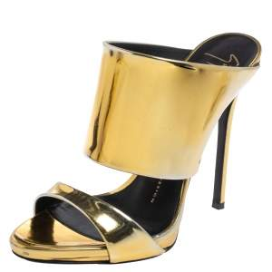 Giuseppe Zanotti Metallic Gold Leather Andrea Open Toe Sandals Size 37