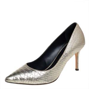 Giuseppe Zanotti Gold Python Embossed Leather Pointed Toe Pumps Size 36